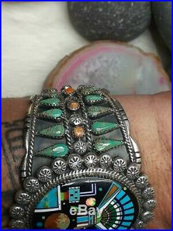 109g $800 MORE THAN WOW! Zuni Galaxy Bracelet Turquoise Inlay Sterling Silver