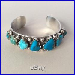 1970s NATIVE AMERICAN NAVAJO TURQUOISE NUGGET STERLING SILVER BANGLE CUFF 55.9g