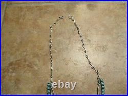 20 DYNAMITE Vintage Zuni Sterling Silver PETIT POINT Turquoise Necklace