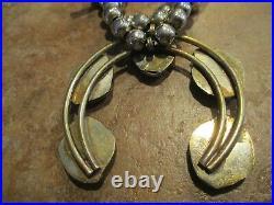 26 FINE Vintage Navajo Sterling Silver Blue Turquoise SQUASH BLOSSOM Necklace