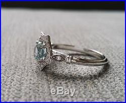 2Ct Round Blue Aquamarine Antique Milgrain Engagement Ring 14K White Gold Finish
