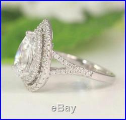 2.00 Ct Pear Cut VVS1 Diamond Halo Engagement Wedding Ring 14K White Gold Over
