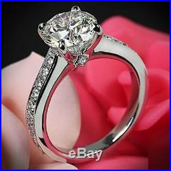 2.00 Ct Round VVS1 Diamond Solitaire Engagement Wedding Ring 14K White Gold Over