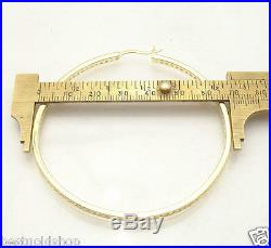 2 3/4 Channel Set Diamonique CZ Hoop Earrings 14K Yellow Gold Clad 925 Silver