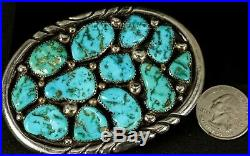 3 3/8 SOLID & Amazing Old Pawn Navajo Cluster TURQUOISE Sterling Belt Buckle