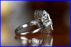 4 CT Emerald Aquamarine Diamond Vintage Art Deco Retro Ring 14K White Gold Over