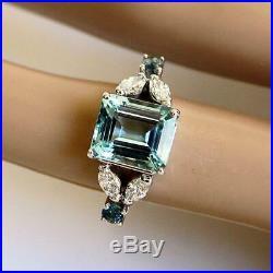 4ct Emerald Cut Blue Aquamarine Art Deco Engagement Ring 14k White Gold Finish