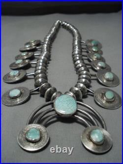 508 Gram Vintage Navajo Turquoise Sterling Silver Squash Blossom Necklace Old