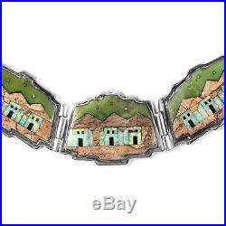925 Sterling Silver Turquoise Jasper Earrings Necklace Set Southwest Jewelry