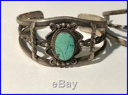 A825- Lot of 2 OLD PAWN NAVAJO STERLING SILVER & TURQUOISE LEAF CUFF BRACELET