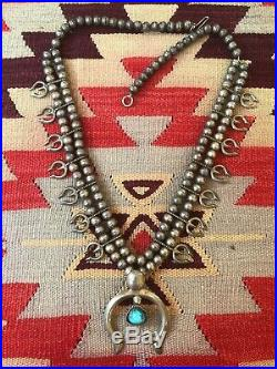 A+ Navajo Old Pawn Sand Cast Squash Blossom Necklace Sterling Silver & Turquoise