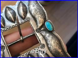 A+ Old Pawn Navajo Southwestern Sterling Silver & Turquoise Belt Buckle