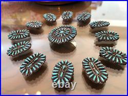 A+ Old Pawn Zuni Southwest Sterling Silver & Teardrop Turquoise Concho Belt Pcs