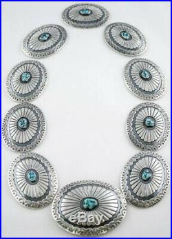 A+ Vintage Navajo Southwestern Sterling Silver & Turquoise Concho Belt & Buckle