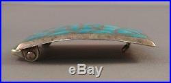 Alice Leekya Homer Zuni Belt Buckle Sterling Silver Blue Gem Turquoise Signed