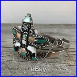 Amazing Old Pawn Zuni Sterling Silver Turquoise & Shell Kachina Bracelet