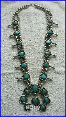 Antique Native American Squash Blossom Silver Necklace/naja Royston Turquoise