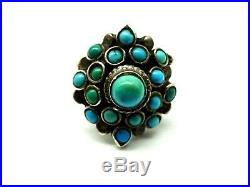 Antique Victorian Austro Hungarian Sterling Silver & Turquoise Ring c1900. F208F