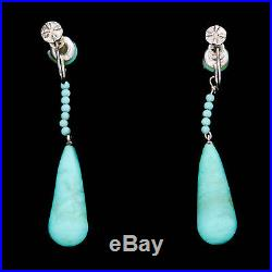 Antique Vintage Deco Sterling Silver Chinese Persian Turquoise Glass Earrings
