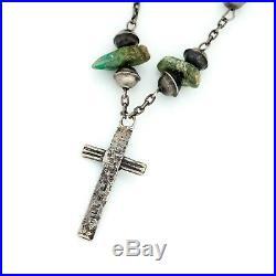 Antique Vintage Sterling Silver Native Pueblo Santo Domingo HILL Rosary Necklace