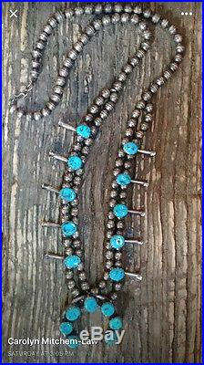 Authentic Navajo Vintage Sterling Silver & Turquoise Squash Blossom