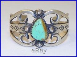 Beautifulnavajo Signed Vlcsterling Silvergenuine Turquoisebracelet