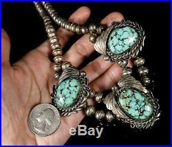 BISBEE SPIDERWEB TURQUOISE Vintage Navajo CHOKER Beads NECKLACE