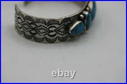 B. Johnson Navajo Cuff Bracelet Blue Nevada Turquoise, Sterling. Signed