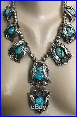 Beautiful Lg Vintage Navajo Sterling Silver & Turquoise Squash Blossom Necklace