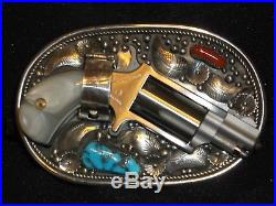 Belt Buckle Gun Derringer Holster Turquoise Sterling Silver Navajo Indian