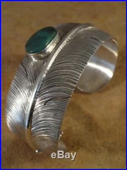 Ben Begaye Navajo Sterling Silver & Turquoise Feather Cuff Bracelet