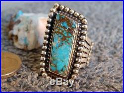 Bisbee Turquoise Sterling Silver Ring Navajo Robert Shakey Size 8 3/4