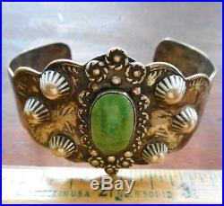 Bold Southwestern Sterling Silver with Green Turquoise Cuff Bracelet 38.4 grams