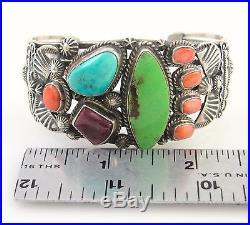 CHARLES JOHNSON Navajo Sterling Silver Turquoise Gaspeite Shell Cuff Bracelet J