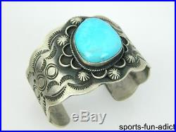 CHIMNEY BUTTE Navajo Large Turquoise Hand Stamped Sterling Silver Cuff Bracelet