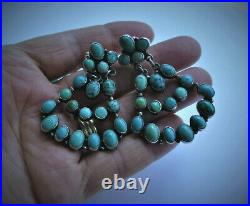 CLASSIC Vintage NAKAI NAVAJO Sterling Silver TURQUOISE Cluster Pyramid EARRINGS