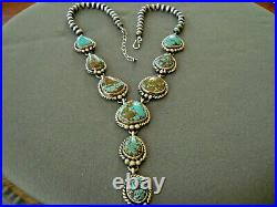 C YAZZIE Native American Number 8 Turquoise Sterling Silver Lariat Bead Necklace