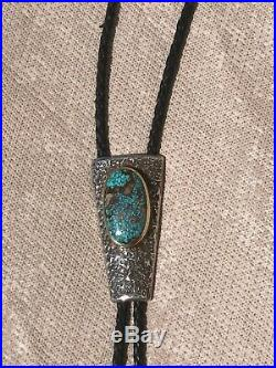 Charles Loloma Hopi Sterling Silver and 14k gold Nevada Blue Turquoise Bolo Tie