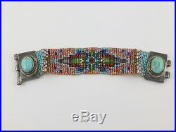 Chili Rose Beadz Tiny Glass Beaded Sterling Silver Oval Turquoise Bracelet 6.5
