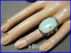 Dynamic San Felipe Kingman Turquoise Sterling Silver Ring Native American