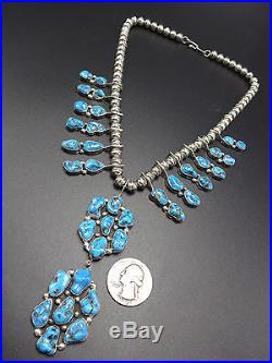 EXQUISITE Vintage NAVAJO Sterling Silver & KINGMAN TURQUOISE Cluster NECKLACE