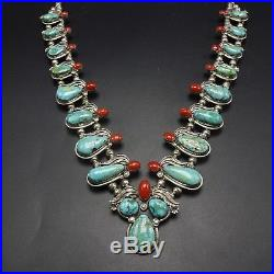 EXTRAORDINARY Vintage NAVAJO Sterling Silver CORAL & TURQUOISE NECKLACE