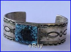 Early NAVAJO Sterling Silver LANDER BLUE WIND Spiderweb TURQUOISE Cuff BRACELET