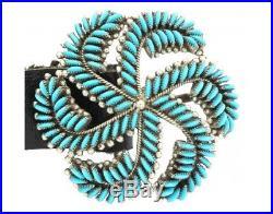 Edith Tsabetsaye, Concho Belt, Sleeping Beauty Turq, Silver, Zuni Handmade, 45 in