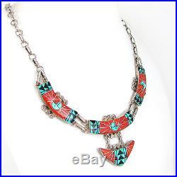 Excellent Zuni OLA ERIACHO Sterling Silver Mosaic Inlay Necklace G LA