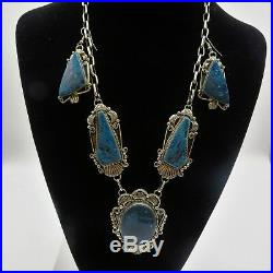 Extraordinary L. James Sterling & Lander Blue Turquoise Necklace & Earrings