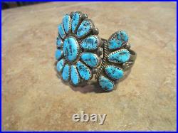 FINE OLD PAWN Navajo Sterling Silver KINGMAN Turquoise CLUSTER Bracelet