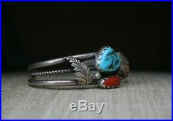 Fantastic Native American Navajo Turquoise Coral Sterling Silver Cuff Bracelet