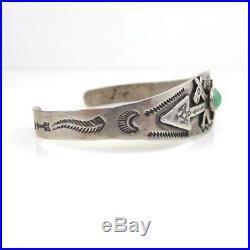 Fred Harvey Era Native American Sterling Silver Turquoise Dog Cuff Bracelet LHF5