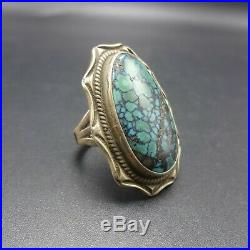 GORGEOUS Vintage NAVAJO Sterling Silver BLUE CREEK TURQUOISE RING size 7.25